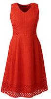 Lands' End Women's Petite Sleeveless Embroidered A-line Dress-Zesty Orange