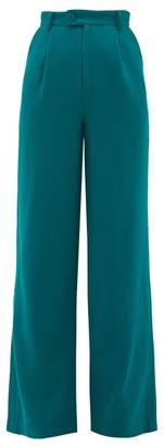 Rebecca De Ravenel High-rise Wool-crepe Wide-leg Trousers - Womens - Dark Green