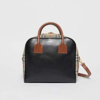 Burberry Medium Leather and Vintage Check Cube Bag