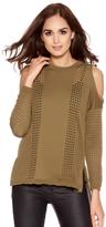 Quiz Khaki Cold Shoulder Lightweight Knitted Top