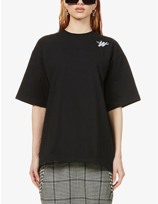 we11done Logo-print oversized cotton-blend T-shirt