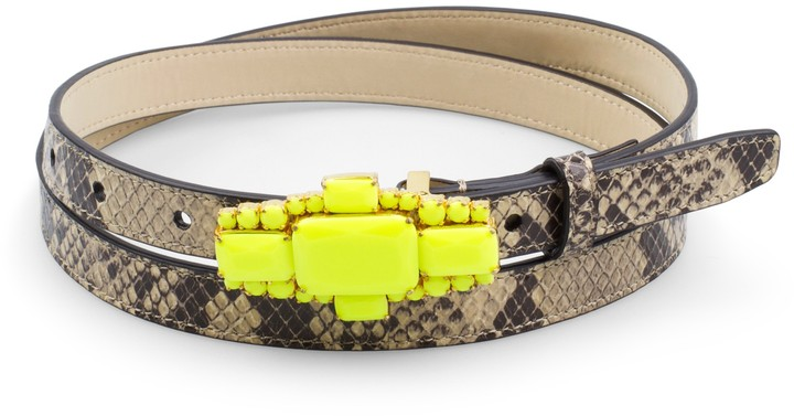 C. Wonder Bling Buckle Snake Embossed Skinny Belt