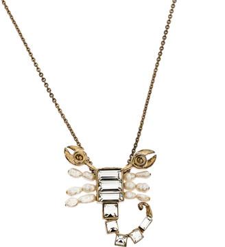 Christian Dior Gold Tone Crystal Christian Me Zodiac Scorpion Pendant Necklace