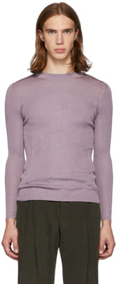 Judy Turner Purple Silk Base Crewneck Sweater