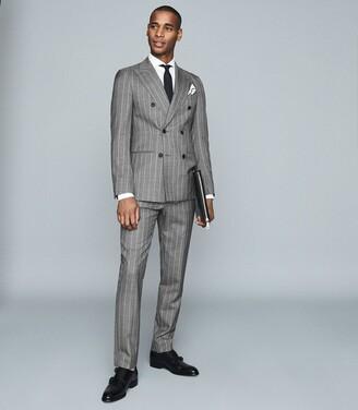 Reiss Tijuana - Pinstripe Slim Fit Trousers in Grey