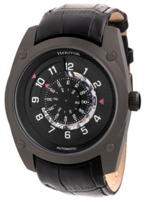 Heritor Automatic Daniels Black Leather Watches 43mm