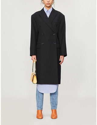 Acne Studios Double-breasted oversized linen and wool-blend coat