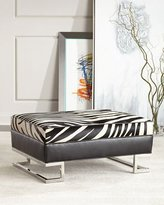 Old Hickory Tannery Gower Hairhide Ottoman, Zebra Stripe