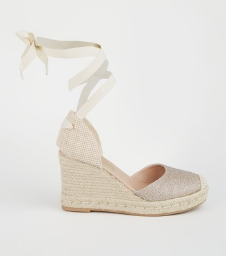 New Look Glitter Ankle Tie Espadrille Wedges