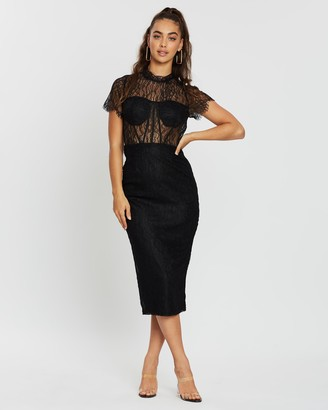 Missguided Lace SS Bodycon Midi Dress