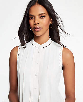 Ann Taylor Lacy Pleated Shell