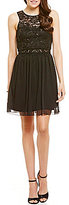 I.N. San Francisco Sequin Lace Popover Skater Dress