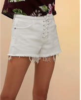 Express mid rise lace-up cutoff denim shorts