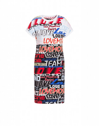 Love Moschino Racing Logo Stretch Fleece Dress Woman Multicoloured Size 38 It - (4 Us)