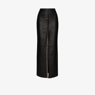 Saint Laurent Embellished leather maxi skirt