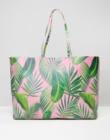 Asos BEACH Oversized Palm Print Shopper Bag