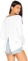 Pam & Gela Destroyed Annie Hi Lo Sweatshirt in White. - size XS (also in )