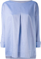 Piazza Sempione chambray pleated front top - women - Cotton - 42