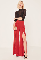 Missguided Satin Split Front Wide Leg Trousers Red