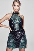 boohoo Premium Olivia Halter Neck Sequin Mini Dress