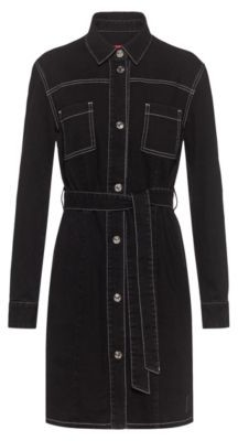 HUGO BOSS Stretch-denim dress with chest pockets and belt
