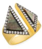 Freida Rothman Grey Mother-Of-Pearl Open Triangle Ring