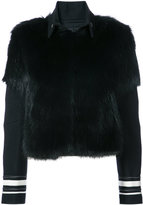 Vera Wang striped detail fur jacket