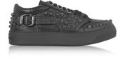 Jimmy Choo Roman Black Leather Low Top Sneaker w/Studs