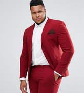 Asos Plus Super Skinny Suit Jacket In Red