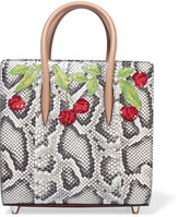 Christian Louboutin Paloma Small Embellished Elaphe And Metallic Textured-leather Tote - Snake print