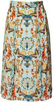 Matthew Williamson Regal Monkey Mint Midi Skirt