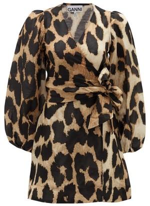 Ganni Leopard-print Linen-blend Wrap Dress - Leopard