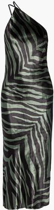 Mason by Michelle Mason Open-back Draped Zebra-print Velvet Midi Dress