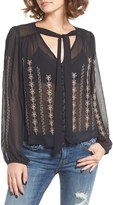 Band of Gypsies Women's Tie Neck Sheer Blouse