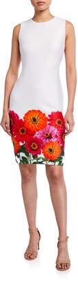 Calvin Klein Floral Border Sleeveless Sheath Dress