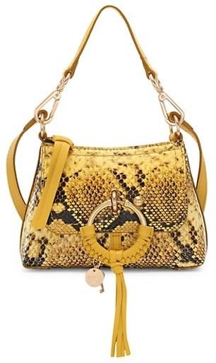 See by Chloe Mini Joan Snakeskin-Embossed Leather Hobo Bag