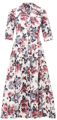 Erdem Kasia Floral-print Cotton-poplin Shirt Dress - White Multi