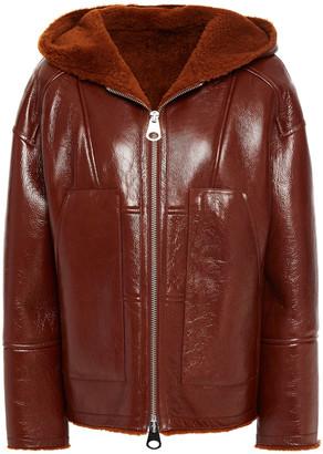 Yves Salomon Coated Shearling Hooded Jacket