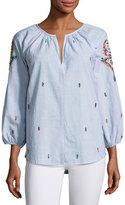 Velvet Shailene Embroidered Micro-Stripe Top, Blue