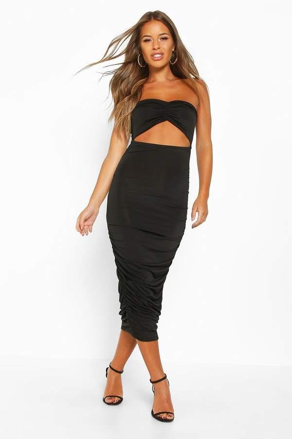 boohoo Petite Cut Out Slinky Ruched Bandeau Midi Dress
