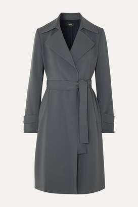 Theory Oaklane Belted Crepe Coat - Gray