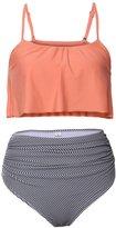 Derix Womens 2 Piece High Waist Bikini Ruffle Flounce Swimuit,YY01,orange,M