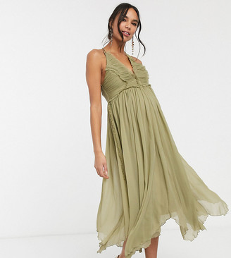 ASOS DESIGN Maternity ruched bodice soft cami midi dress with raw edge detail