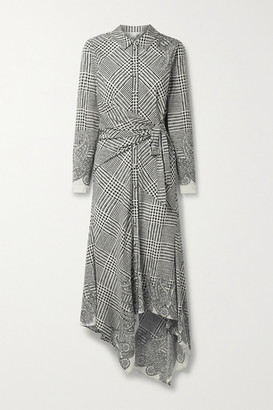 Veronica Beard Ondine Asymmetric Printed Silk-blend Crepe De Chine Shirt Dress - Off-white