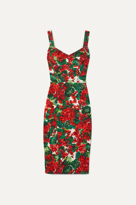 Dolce & Gabbana Floral-print Stretch-cady Dress - Red