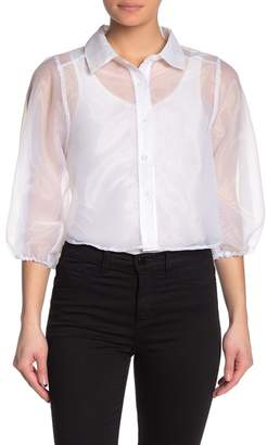 Know One Cares Sheer Balloon Sleeve Blouse