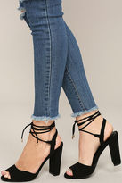 LuLu*s Elle Natural Suede Lace-Up Heels