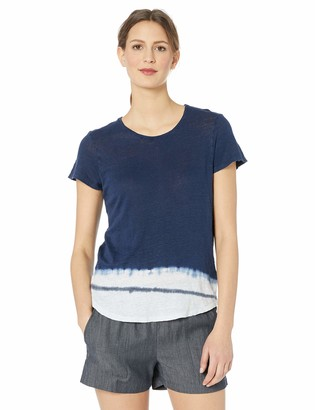 Majestic Filatures Women's Linen Short Sleeve Crew Neck with Tie Dye