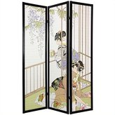 Oriental Furniture Sumi-e and Block Art Print Designs, 6-Feet Japanese Geisha Shoji Style Washi Rice Paper Privacy Screen