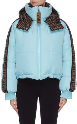 Fendi Sport 'FENDIRAMA' logo print outseam cropped down reversible jacket